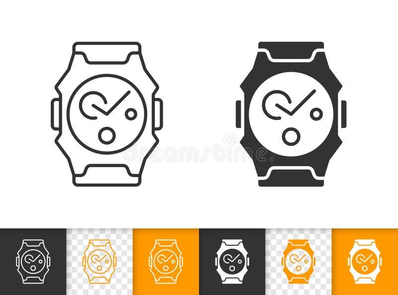 Διανυσματικό εικονίδιο γραμμών Wristwatch απλό μαύρο απεικόνιση αποθεμάτων