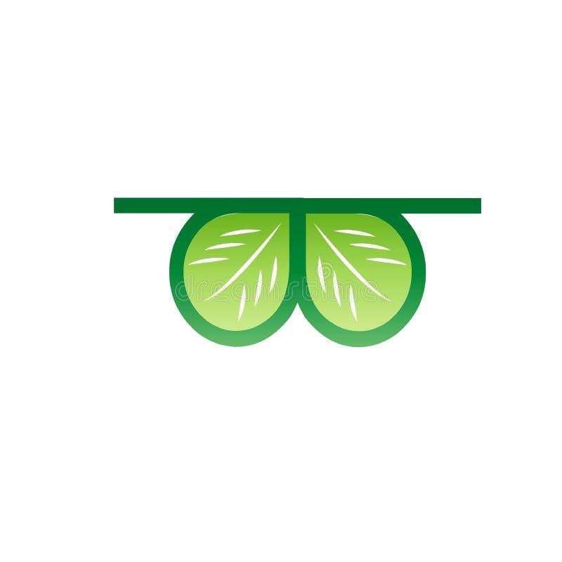 Διανυσματικό εικονίδιο, γυαλιά με τα φύλλα ελεύθερη απεικόνιση δικαιώματος