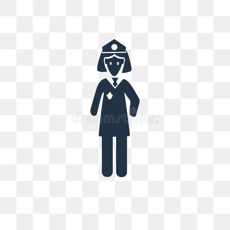 Διανυσματικό εικονίδιο γυναικών αστυνομίας που απομονώνεται στο διαφανές υπόβαθρο, POL ελεύθερη απεικόνιση δικαιώματος