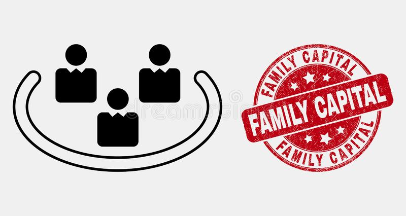 Διανυσματικό εικονίδιο δαχτυλιδιών γραμμών κοινωνικό και γρατσουνισμένο οικογενειακό κύριο γραμματόσημο απεικόνιση αποθεμάτων