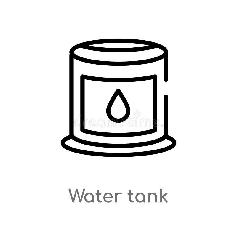 διανυσματικό εικονίδιο δεξαμενών νερού περιλήψεων απομονωμένη μαύρη απλή απεικόνιση στοιχείων γραμμών από την έννοια βιομηχανίας  απεικόνιση αποθεμάτων
