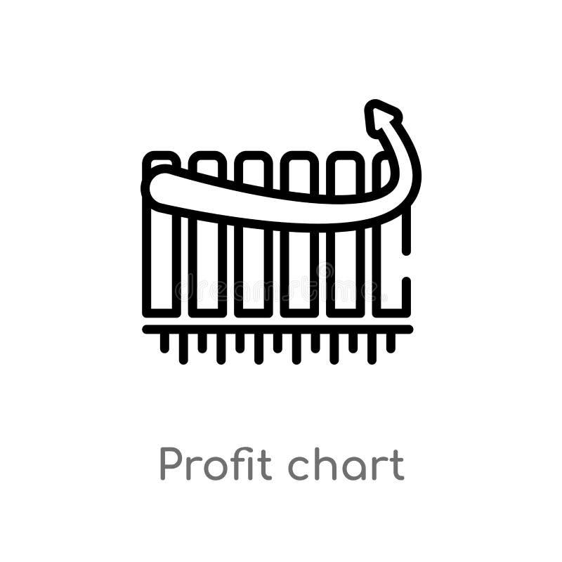 διανυσματικό εικονίδιο διαγραμμάτων κέρδους περιλήψεων απομονωμένη μαύρη απλή απεικόνιση στοιχείων γραμμών από την επιχειρησιακή  ελεύθερη απεικόνιση δικαιώματος