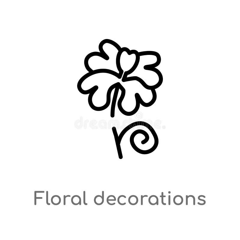 διανυσματικό εικονίδιο διακοσμήσεων περιλήψεων floral απομονωμένη μαύρη απλή απεικόνιση στοιχείων γραμμών από την έννοια φύσης Δι ελεύθερη απεικόνιση δικαιώματος