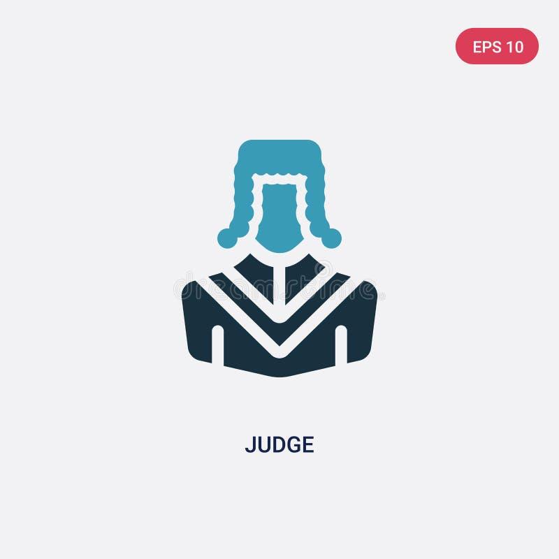 Διανυσματικό εικονίδιο δικαστών δύο χρώματος από την έννοια επαγγελμάτων & εργασιών το απομονωμένο μπλε σύμβολο σημαδιών δικαστών ελεύθερη απεικόνιση δικαιώματος