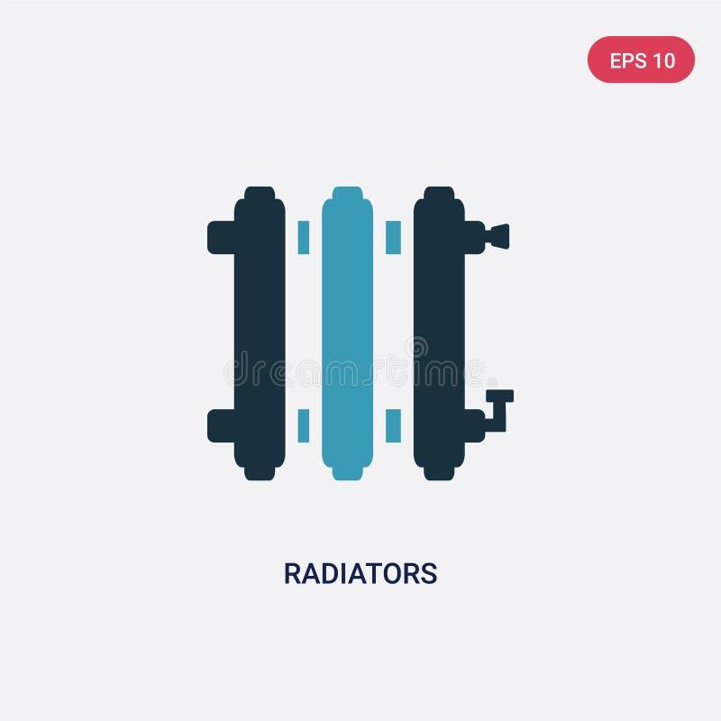 Διανυσματικό εικονίδιο δύο θερμαντικών σωμάτων χρώματος από την έννοια μορφών το απομονωμένο μπλε σύμβολο σημαδιών θερμαντικών σω διανυσματική απεικόνιση