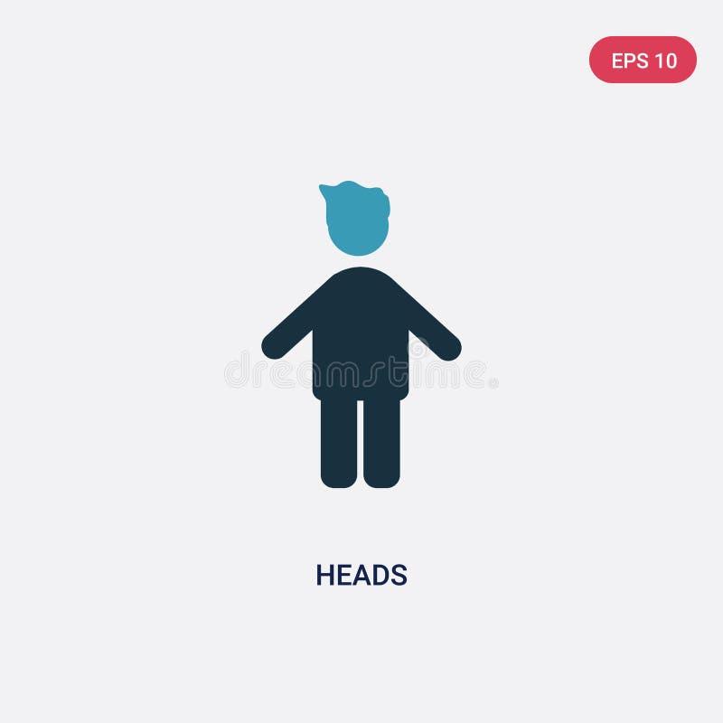 Διανυσματικό εικονίδιο δύο κεφαλιών χρώματος από την έννοια ανθρώπων το απομονωμένο μπλε σύμβολο σημαδιών κεφαλιών διανυσματικό μ απεικόνιση αποθεμάτων