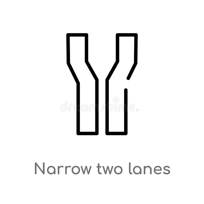 διανυσματικό εικονίδιο δύο παρόδων περιλήψεων στενό απομονωμένη μαύρη απλή απεικόνιση στοιχείων γραμμών από την έννοια χαρτών και απεικόνιση αποθεμάτων