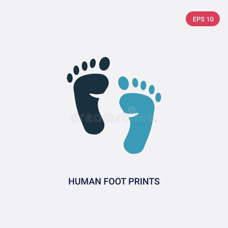 Διανυσματικό εικονίδιο δύο χρώματος ανθρώπινο τυπωμένων υλών ποδιών από την έννοια μορφών το απομονωμένο μπλε ανθρώπινο πόδι τυπώ ελεύθερη απεικόνιση δικαιώματος