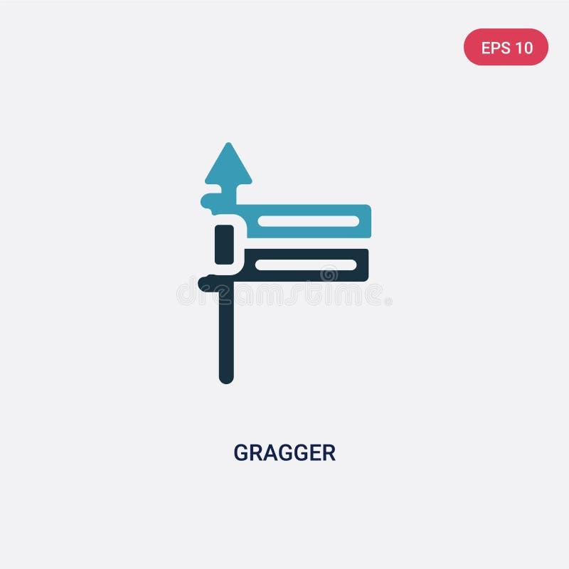 Διανυσματικό εικονίδιο δύο χρώματος gragger από την έννοια θρησκείας το απομονωμένο μπλε σύμβολο σημαδιών gragger διανυσματικό μπ απεικόνιση αποθεμάτων