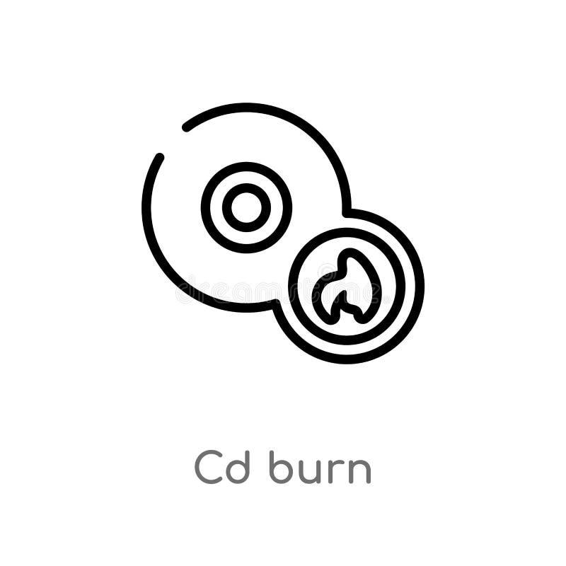 διανυσματικό εικονίδιο εγκαυμάτων Cd περιλήψεων απομονωμένη μαύρη απλή απεικόνιση στοιχείων γραμμών από τη μουσική και την έννοια διανυσματική απεικόνιση