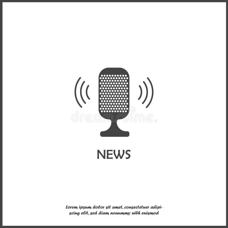 Διανυσματικό εικονίδιο ειδήσεων μικροφώνων απομονωμένο στο λευκό υπόβαθρο Στρώματα που ομαδοποιούνται για την εύκολη απεικόνιση έ διανυσματική απεικόνιση