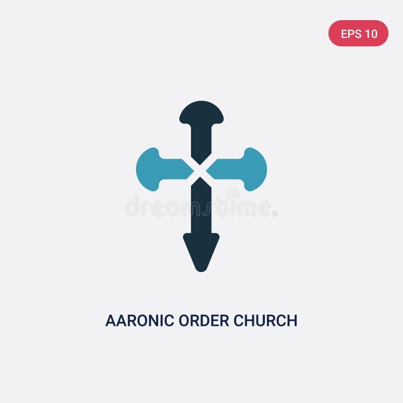 Διανυσματικό εικονίδιο εκκλησιών διαταγής δύο χρώματος aaronic από την έννοια θρησκείας το απομονωμένο μπλε aaronic διαταγής σύμβ διανυσματική απεικόνιση