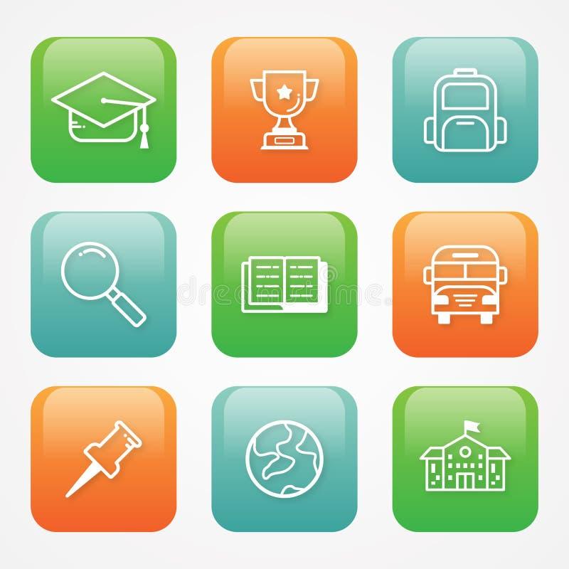 Διανυσματικό εικονίδιο εκπαίδευσης απεικόνισης στο επίπεδο ύφος για τα κουμπιά Ιστού ή app ελεύθερη απεικόνιση δικαιώματος