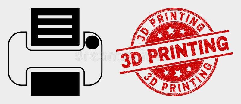 Διανυσματικό εικονίδιο εκτυπωτών και τρισδιάστατο υδατόσημο εκτύπωσης κινδύνου απεικόνιση αποθεμάτων