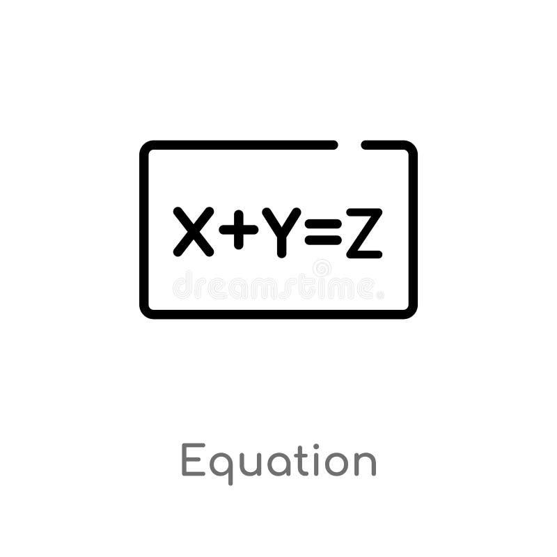 διανυσματικό εικονίδιο εξίσωσης περιλήψεων απομονωμένη μαύρη απλή απεικόνιση στοιχείων γραμμών από την έννοια εκπαίδευσης Διανυσμ ελεύθερη απεικόνιση δικαιώματος