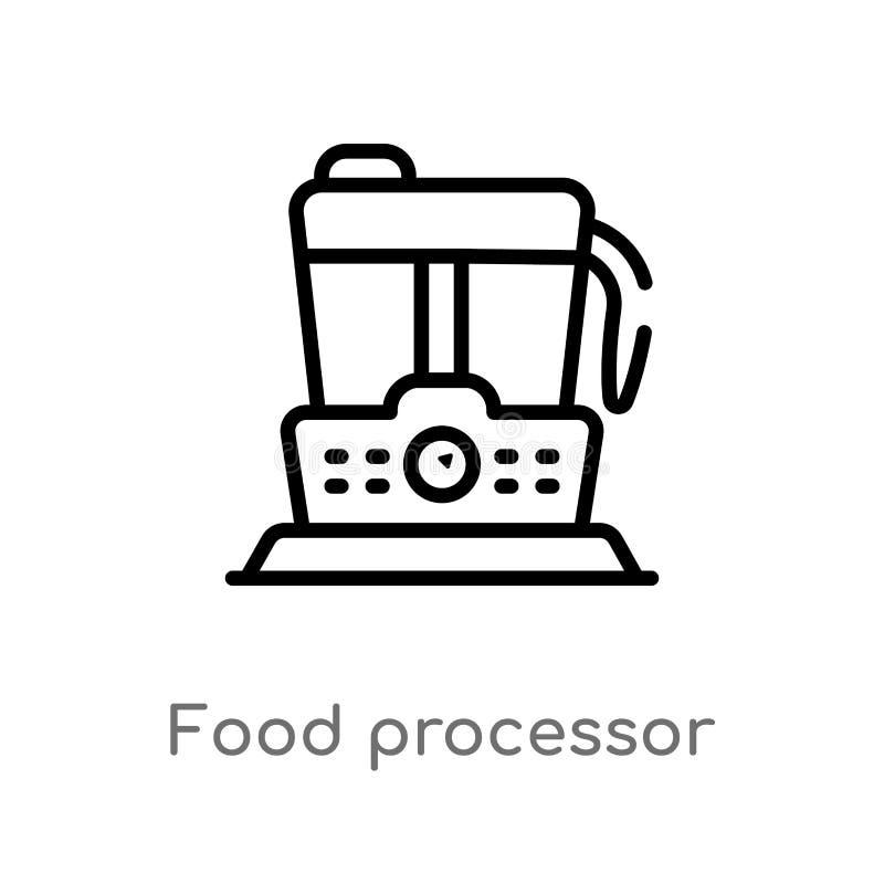 διανυσματικό εικονίδιο επεξεργαστών τροφίμων περιλήψεων απομονωμένη μαύρη απλή απεικόνιση στοιχείων γραμμών από την έννοια ηλεκτρ διανυσματική απεικόνιση