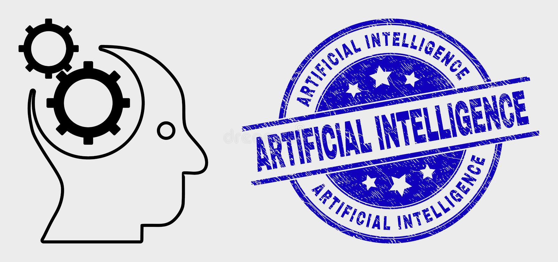 Διανυσματικό εικονίδιο εργαλείων περιγράμματος επικεφαλής και σφραγίδα τεχνητής νοημοσύνης κινδύνου ελεύθερη απεικόνιση δικαιώματος