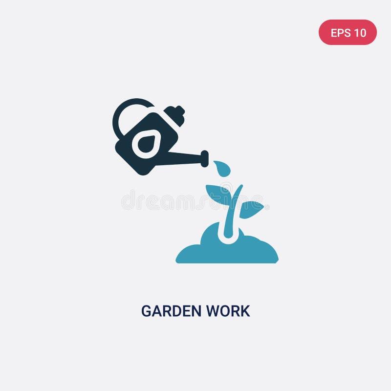 Διανυσματικό εικονίδιο εργασίας κήπων δύο χρώματος από άλλη έννοια το απομονωμένο μπλε κήπων σύμβολο σημαδιών εργασίας διανυσματι ελεύθερη απεικόνιση δικαιώματος
