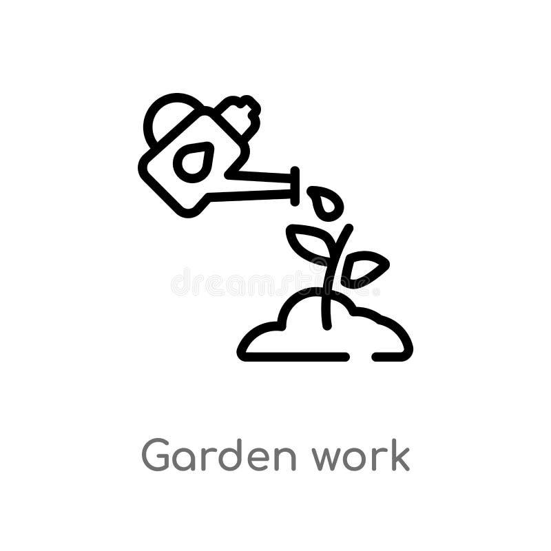 διανυσματικό εικονίδιο εργασίας κήπων περιλήψεων απομονωμένη μαύρη απλή απεικόνιση στοιχείων γραμμών από άλλη έννοια editable δια ελεύθερη απεικόνιση δικαιώματος