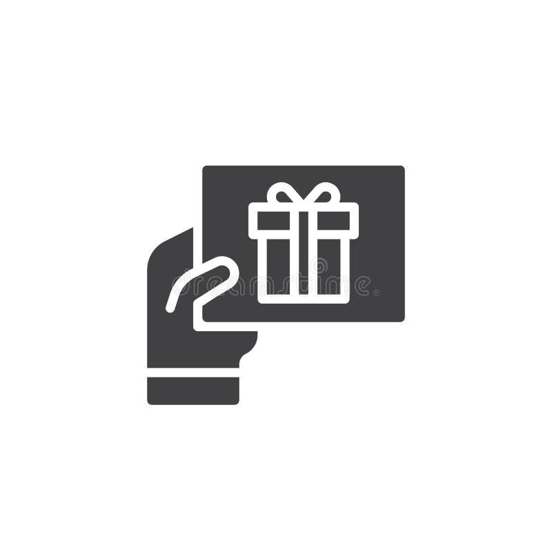 Διανυσματικό εικονίδιο ευχετήριων καρτών δώρων εκμετάλλευσης χεριών διανυσματική απεικόνιση