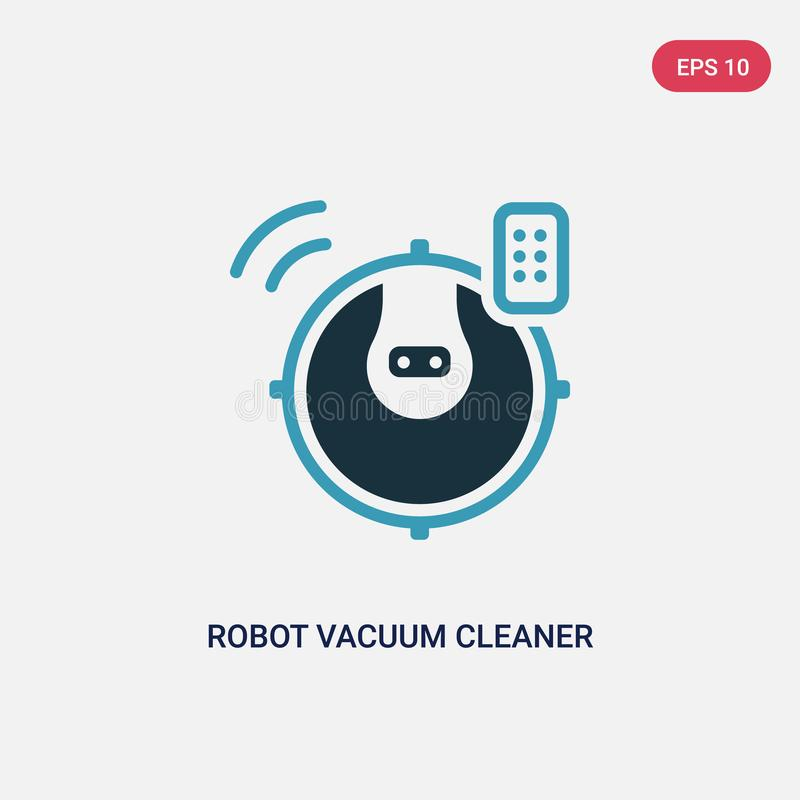 Διανυσματικό εικονίδιο ηλεκτρικών σκουπών ρομπότ δύο χρώματος από την έξυπνη εγχώρια έννοια το απομονωμένο μπλε ρομπότ σύμβολο ση απεικόνιση αποθεμάτων