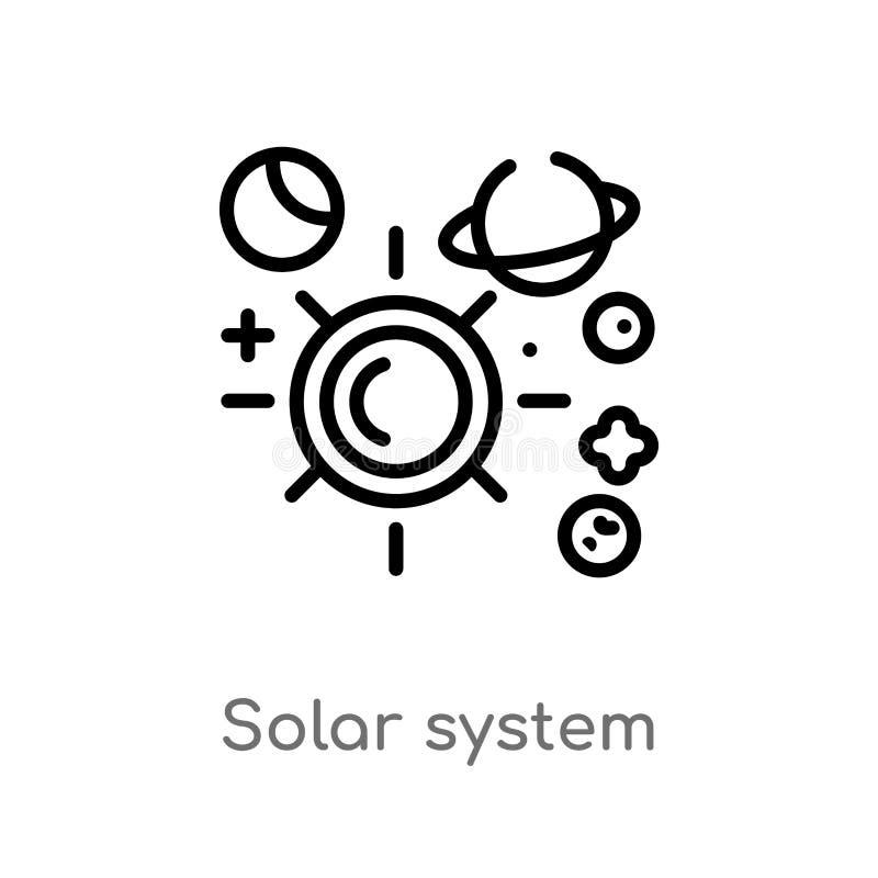 διανυσματικό εικονίδιο ηλιακών συστημάτων περιλήψεων απομονωμένη μαύρη απλή απεικόνιση στοιχείων γραμμών από την εκπαίδευση 2 ένν διανυσματική απεικόνιση