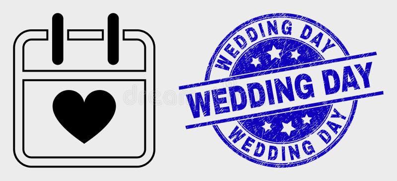 Διανυσματικό εικονίδιο ημερολογιακών σελίδων βαλεντίνων περιγράμματος και σφραγίδα γραμματοσήμων ημέρας γάμου κινδύνου διανυσματική απεικόνιση