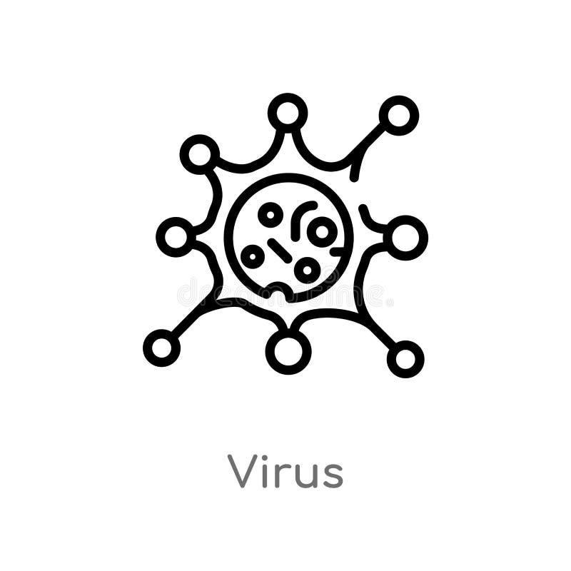 διανυσματικό εικονίδιο ιών περιλήψεων απομονωμένη μαύρη απλή απεικόνιση στοιχείων γραμμών από την έννοια εκπαίδευσης editable δια διανυσματική απεικόνιση