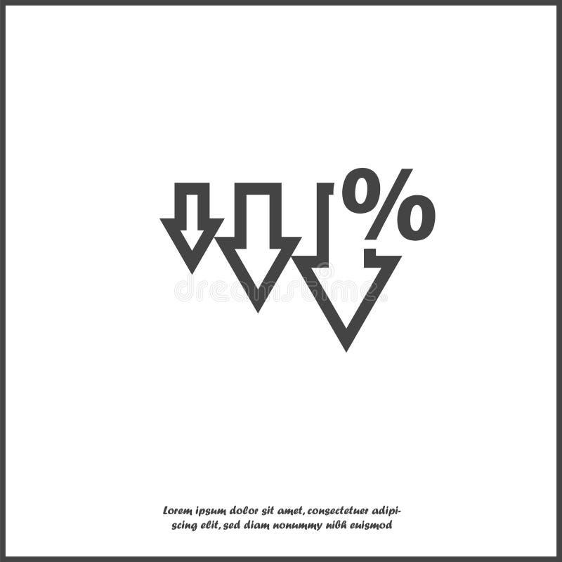 Διανυσματικό εικονίδιο κάτω από το βέλος και σημάδι ποσοστού απομονωμένο στο λευκό υπόβαθρο ελεύθερη απεικόνιση δικαιώματος
