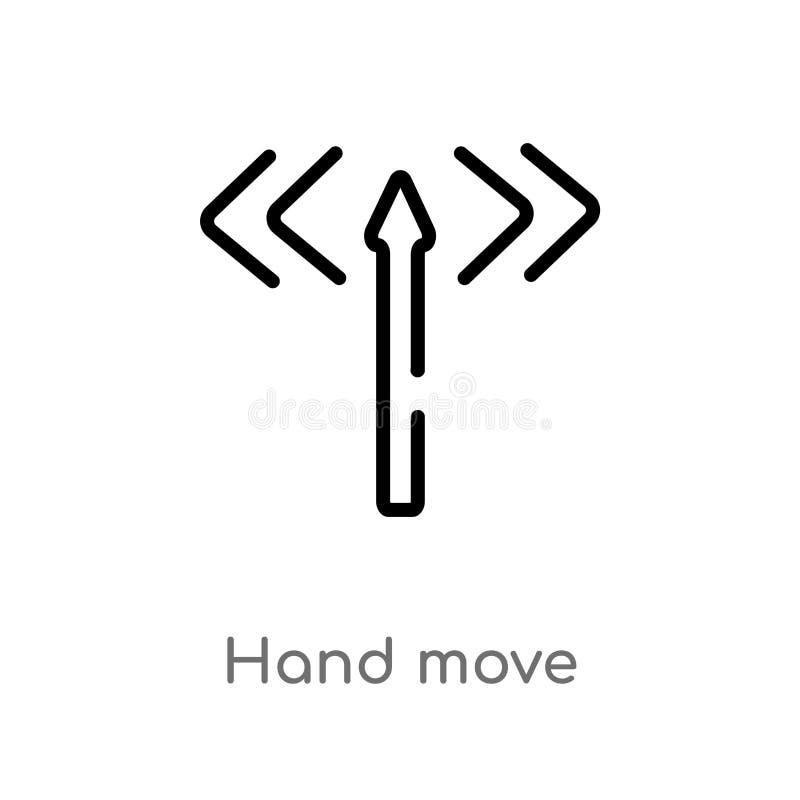 διανυσματικό εικονίδιο κίνησης χεριών περιλήψεων απομονωμένη μαύρη απλή απεικόνιση στοιχείων γραμμών από την έννοια προσανατολισμ απεικόνιση αποθεμάτων