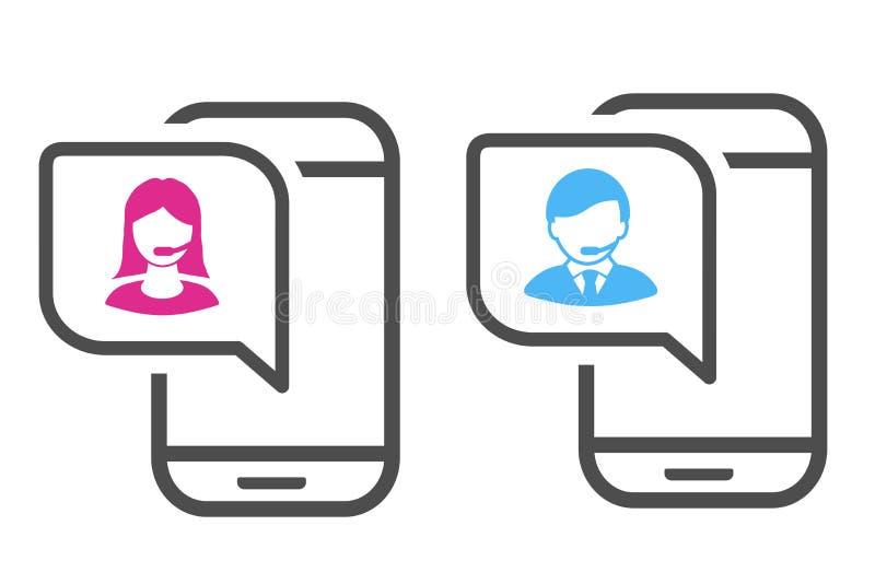 Διανυσματικό εικονίδιο κλήσης Ρόδινο και μπλε εικονίδιο επαφών με το σύμβολο του ειδώλου στον κινητό Έννοια υποστήριξης και διαβο διανυσματική απεικόνιση