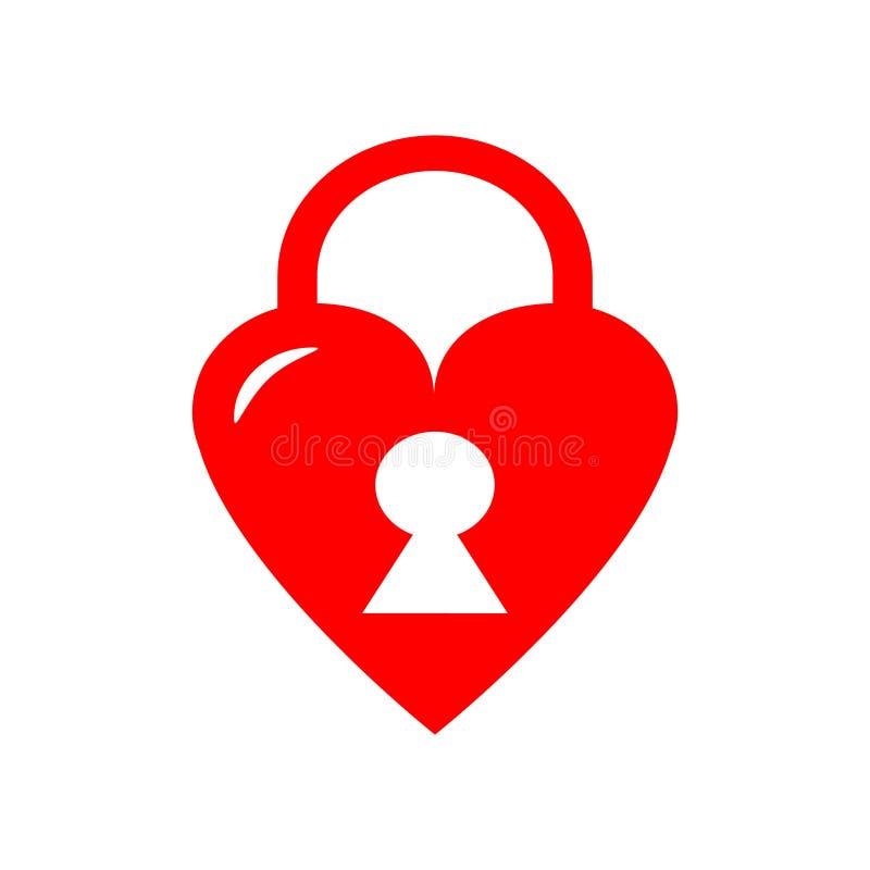 Διανυσματικό εικονίδιο κλειδαριών καρδιών διανυσματική απεικόνιση
