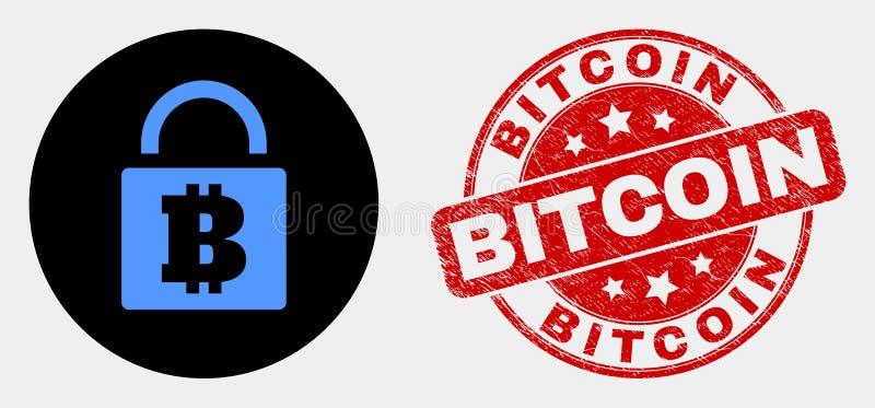 Διανυσματικό εικονίδιο κλειδαριών Bitcoin και γρατσουνισμένη σφραγίδα γραμματοσήμων Bitcoin ελεύθερη απεικόνιση δικαιώματος