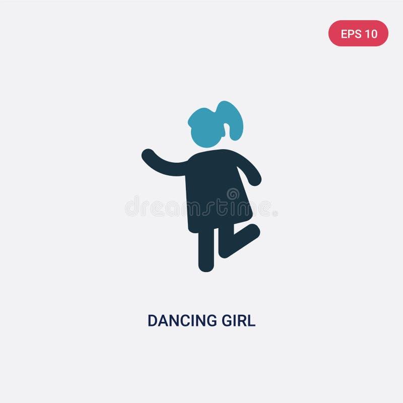 Διανυσματικό εικονίδιο κοριτσιών δύο χρώματος χορεύοντας από την έννοια ανθρώπων το απομονωμένο μπλε χορεύοντας σύμβολο σημαδιών  απεικόνιση αποθεμάτων