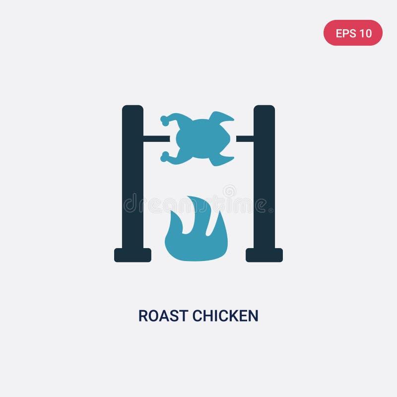 Διανυσματικό εικονίδιο κοτόπουλου ψητού δύο χρώματος από την έννοια εποχής του λίθου το απομονωμένο μπλε ψητού σύμβολο σημαδιών κ απεικόνιση αποθεμάτων