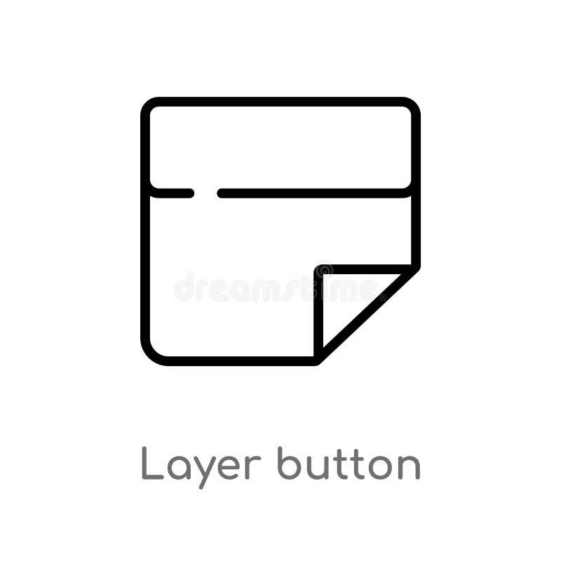 διανυσματικό εικονίδιο κουμπιών στρώματος περιλήψεων απομονωμένη μαύρη απλή απεικόνιση στοιχείων γραμμών από την έννοια ενδιάμεσω απεικόνιση αποθεμάτων