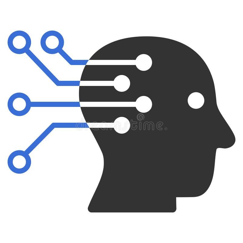 Διανυσματικό εικονίδιο κυκλωμάτων διεπαφών εγκεφάλου Cyborg απεικόνιση αποθεμάτων