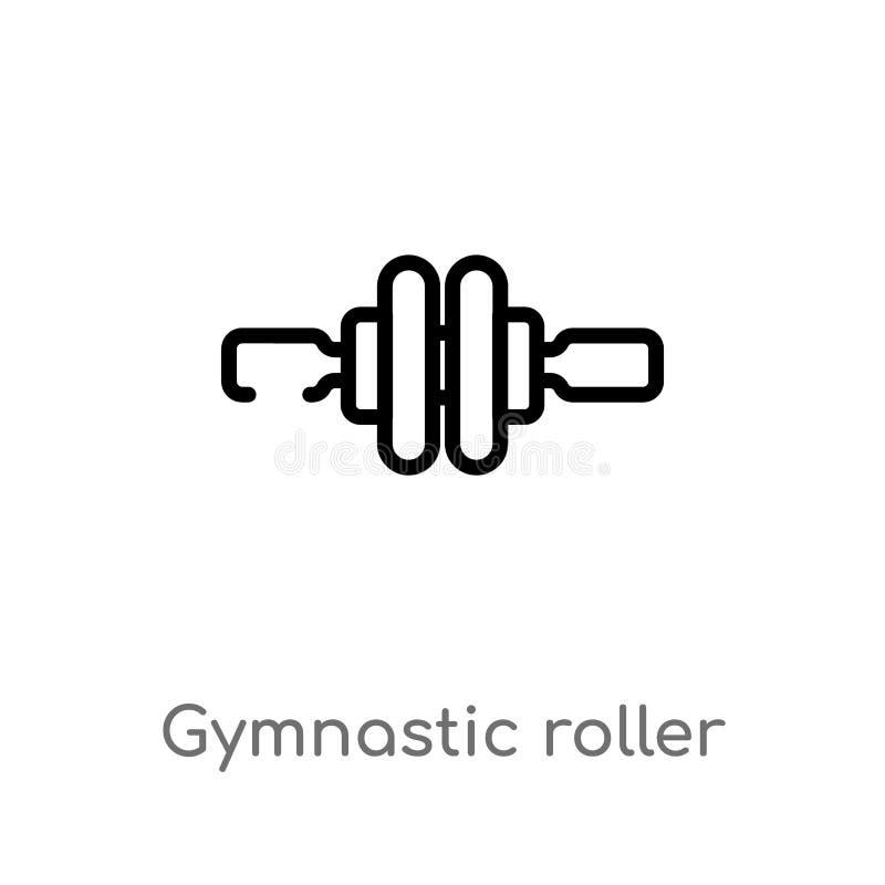 διανυσματικό εικονίδιο κυλίνδρων περιλήψεων γυμναστικό απομονωμένη μαύρη απλή απεικόνιση στοιχείων γραμμών από την έννοια γυμναστ απεικόνιση αποθεμάτων