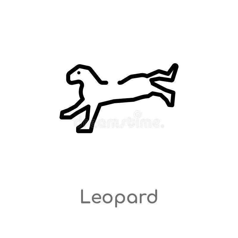 διανυσματικό εικονίδιο λεοπαρδάλεων περιλήψεων απομονωμένη μαύρη απλή απεικόνιση στοιχείων γραμμών από την έννοια ζώων editable δ διανυσματική απεικόνιση