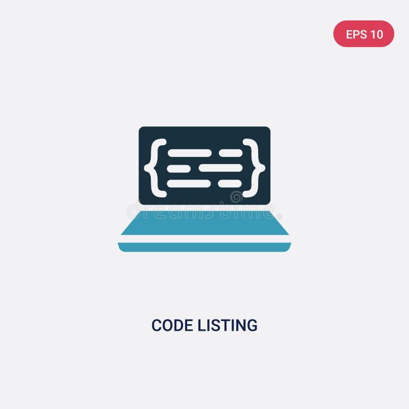 Διανυσματικό εικονίδιο λιστών κώδικα χρώματος δύο από τον προγραμματισμό της έννοιας το απομονωμένο μπλε κώδικα σύμβολο σημαδιών  απεικόνιση αποθεμάτων
