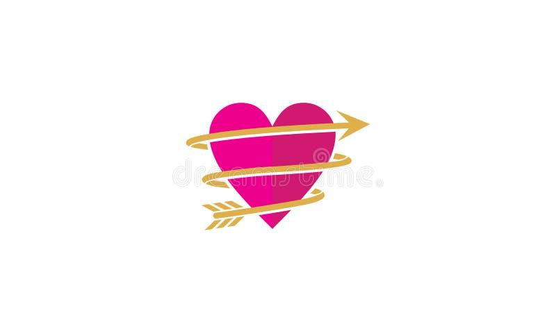 Διανυσματικό εικονίδιο λογότυπων βελών αγάπης απεικόνιση αποθεμάτων