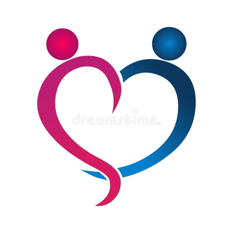 Διανυσματικό εικονίδιο λογότυπων ζεύγους Αφηρημένο λογότυπο καρδιών Αφηρημένο διάνυσμα αγάπης ελεύθερη απεικόνιση δικαιώματος