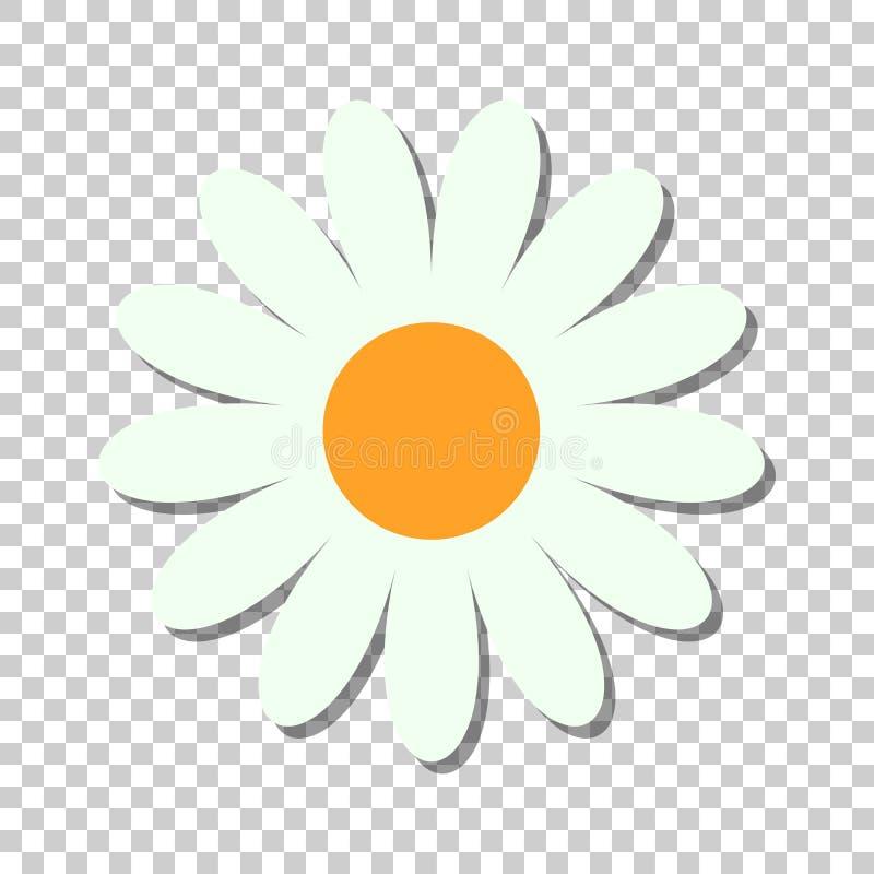 Διανυσματικό εικονίδιο λουλουδιών Chamomile στο επίπεδο ύφος Απεικόνιση ο της Daisy απεικόνιση αποθεμάτων
