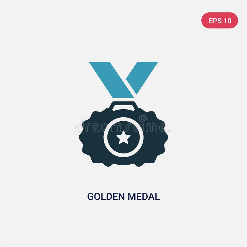 Διανυσματικό εικονίδιο μεταλλίων δύο χρώματος χρυσό από την αθλητική έννοια το απομονωμένο μπλε χρυσό σύμβολο σημαδιών μεταλλίων  απεικόνιση αποθεμάτων