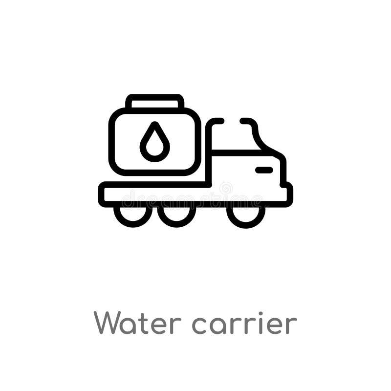 διανυσματικό εικονίδιο μεταφορέων νερού περιλήψεων απομονωμένη μαύρη απλή απεικόνιση στοιχείων γραμμών από την έννοια μεταφορών Δ διανυσματική απεικόνιση