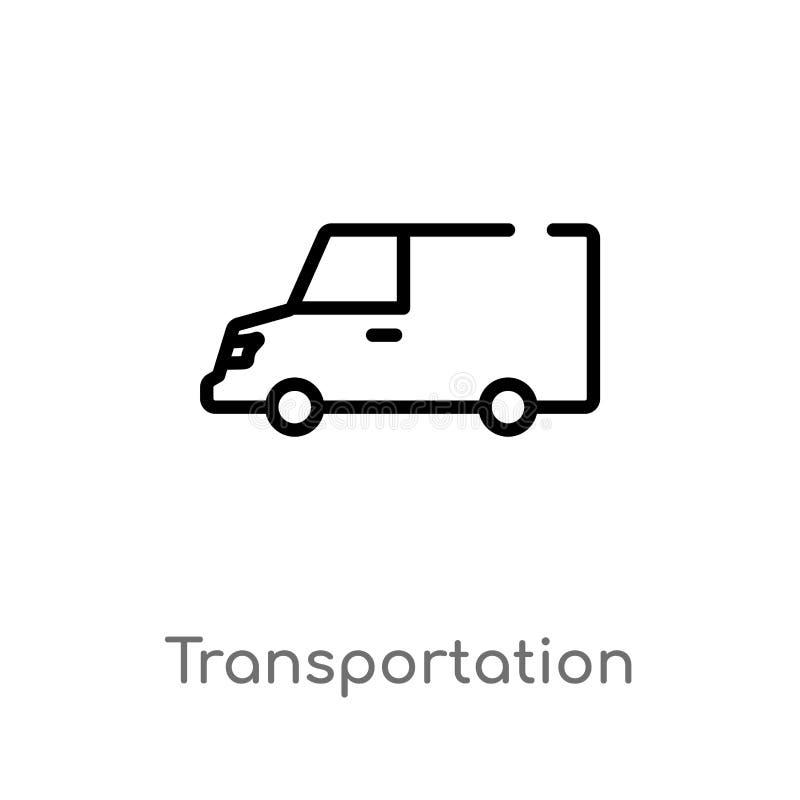διανυσματικό εικονίδιο μεταφορών περιλήψεων απομονωμένη μαύρη απλή απεικόνιση στοιχείων γραμμών από την έννοια παράδοσης και διοι διανυσματική απεικόνιση