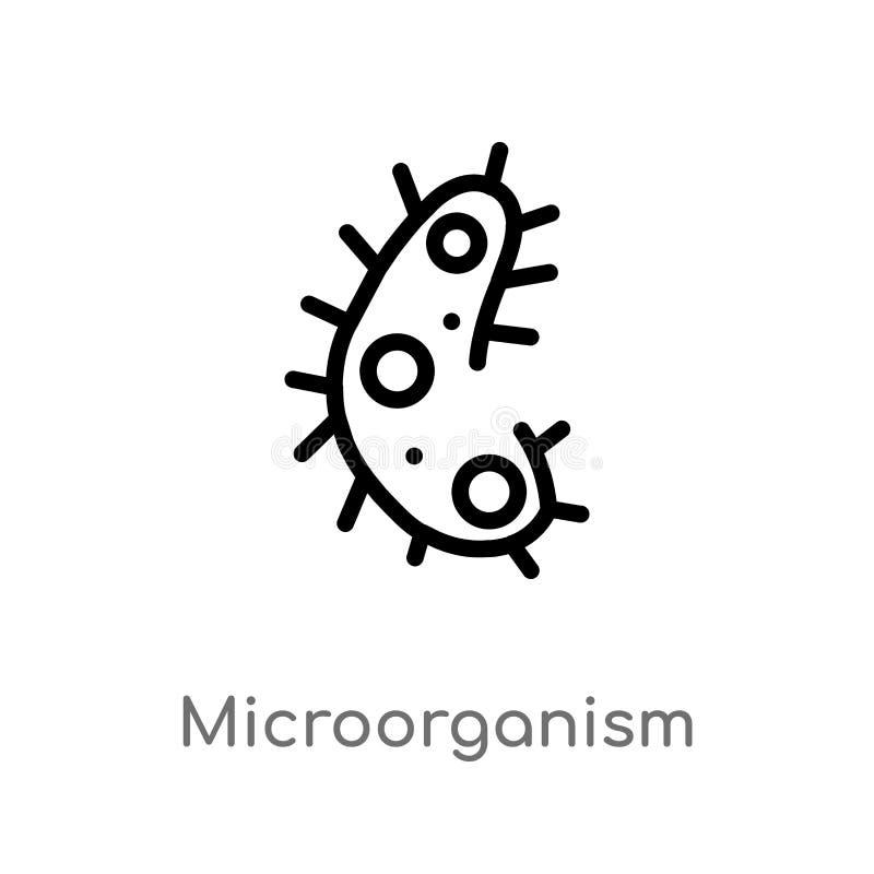 διανυσματικό εικονίδιο μικροοργανισμών περιλήψεων απομονωμένη μαύρη απλή απεικόνιση στοιχείων γραμμών από την έννοια επιστήμης r ελεύθερη απεικόνιση δικαιώματος