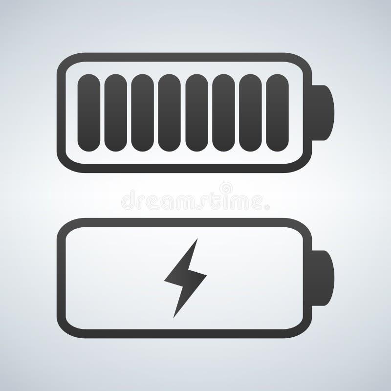 Διανυσματικό εικονίδιο μπαταριών Δαπάνη από υψηλό σε χαμηλό διανυσματική απεικόνιση