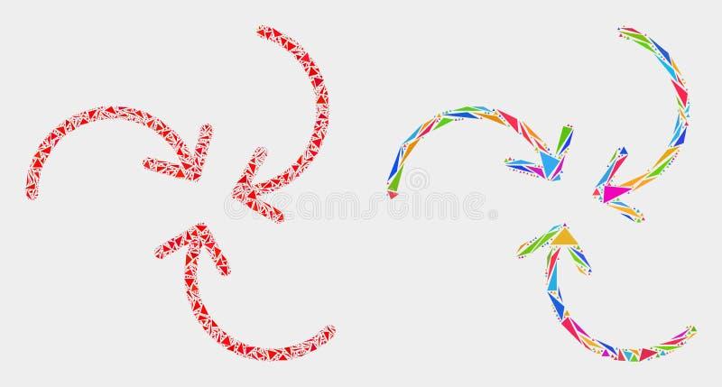 Διανυσματικό εικονίδιο μωσαϊκών βελών στροβίλου των τριγώνων διανυσματική απεικόνιση