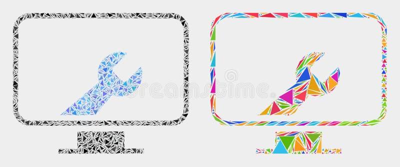Διανυσματικό εικονίδιο μωσαϊκών γαλλικών κλειδιών τοποθετήσεων υπολογιστών των τριγώνων ελεύθερη απεικόνιση δικαιώματος